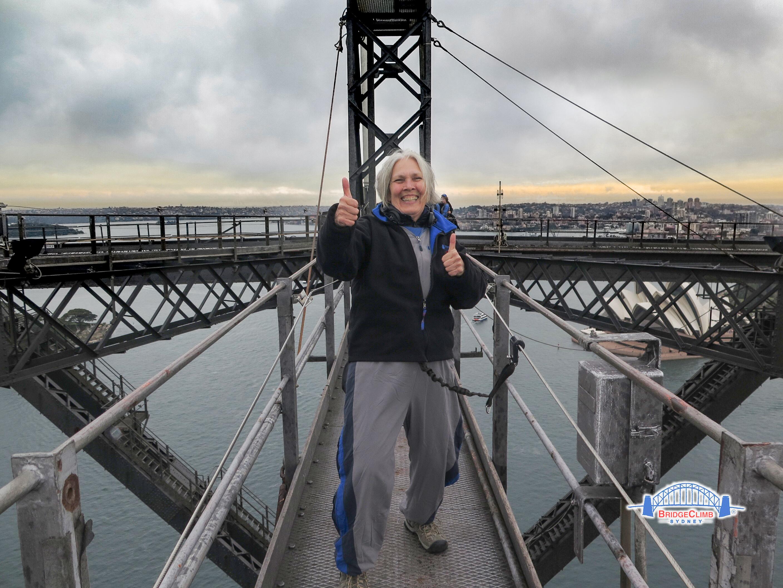 Carol atop bridge